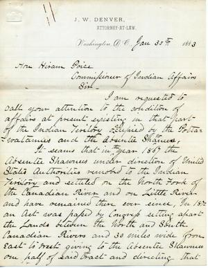 Primary view of object titled '[Letter from J. W. Denver to Hiram Price, January 30, 1883]'.