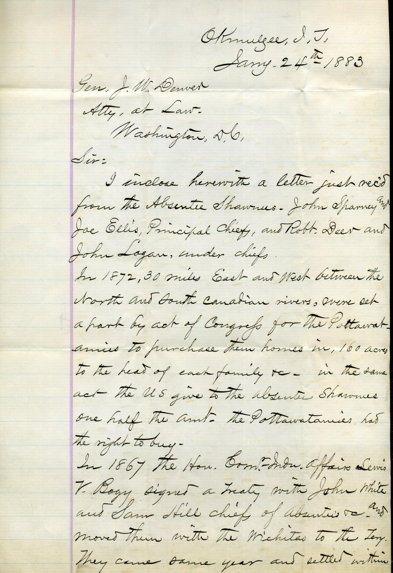 [Letter from I.G. Vore to J.W. Denver, January 24, 1883]                                                                                                      [Sequence #]: 1 of 3