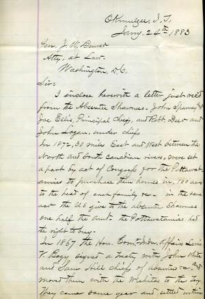 [Letter from I.G. Vore to J.W. Denver, January 24, 1883]