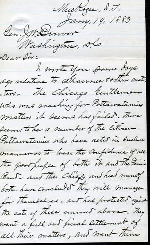 [Letter from I.G. Vore to J.W. Denver, January 19, 1883]
