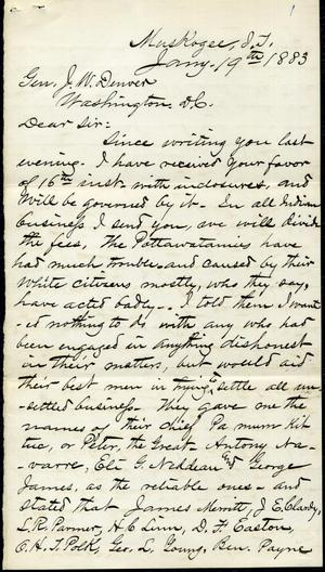Primary view of object titled '[Letter from I. G. Vore to J. W. Denver, January 19th, 1883]'.