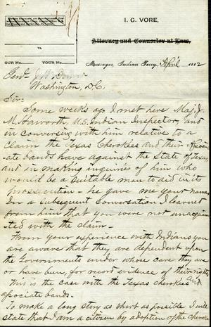 Primary view of object titled '[Letter from I. G. Vore to J. W. Denver, April 1884]'.