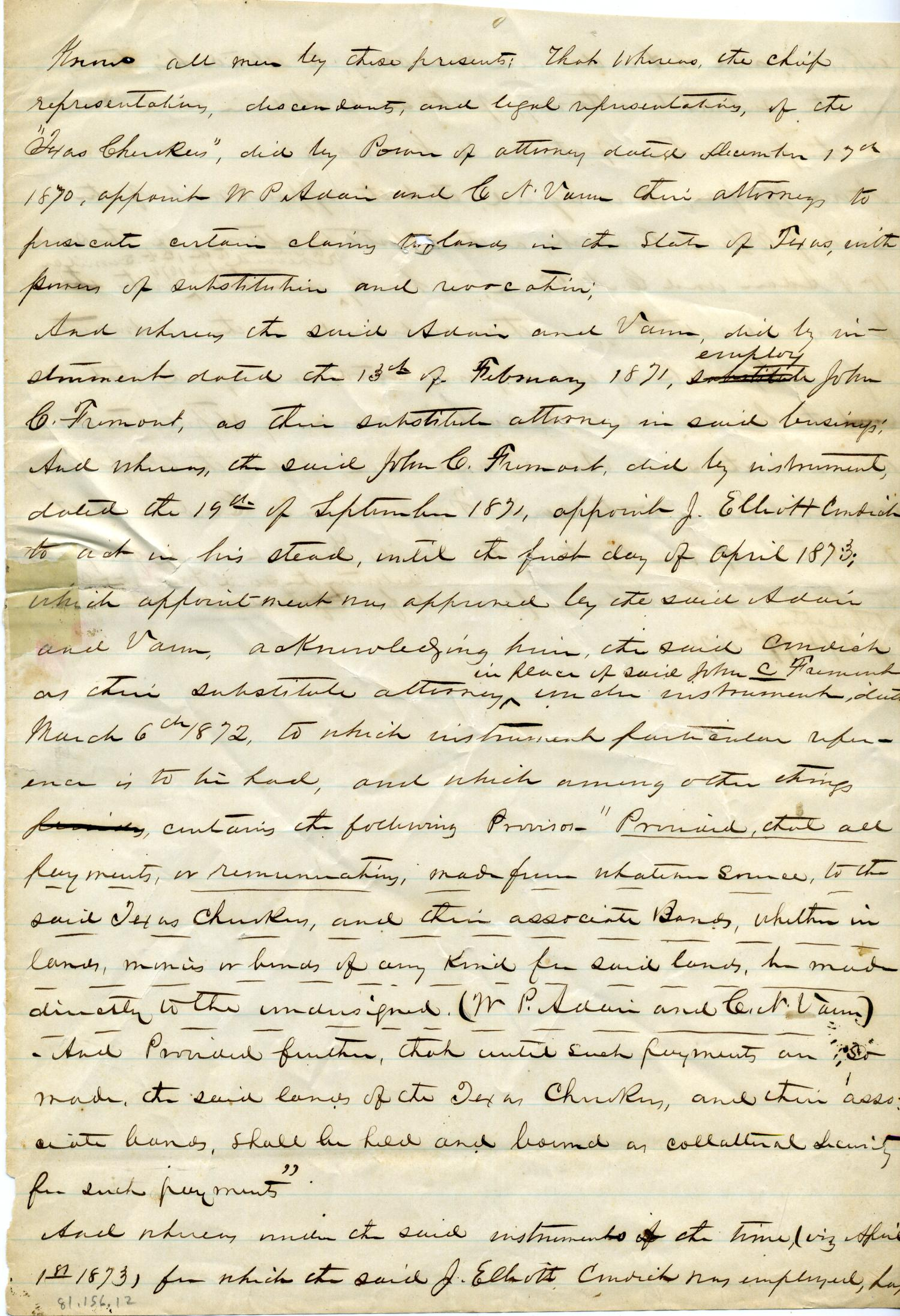 [Documents relating to the Texas Cherokees]                                                                                                      [Sequence #]: 1 of 33