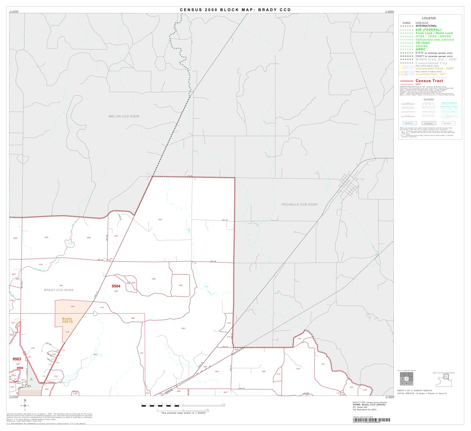 2000 Census County Subdivison Block Map: Brady CCD, Texas, Block 3                                                                                                      [Sequence #]: 1 of 1