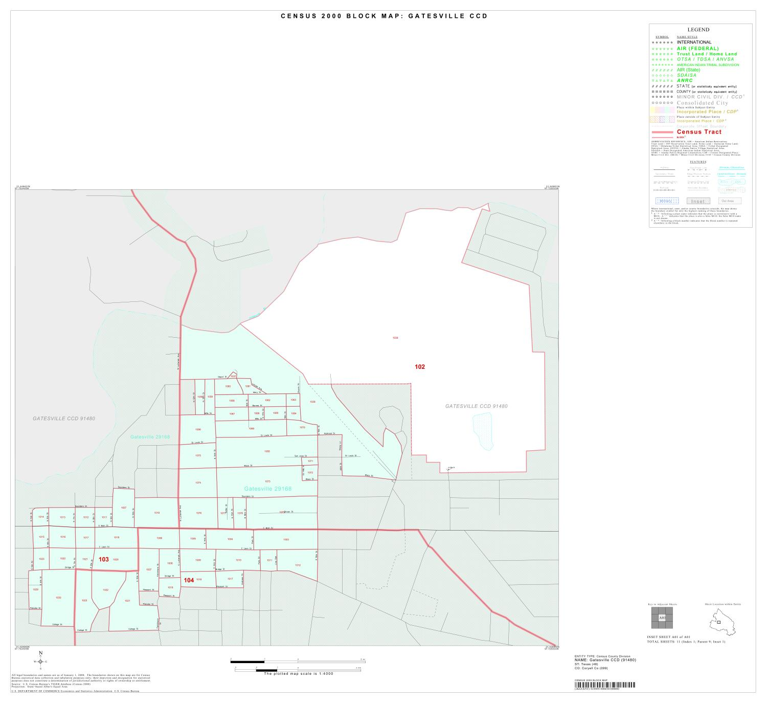 2000 Census County Subdivison Block Map: Gatesville CCD, Texas, Inset A01                                                                                                      [Sequence #]: 1 of 1