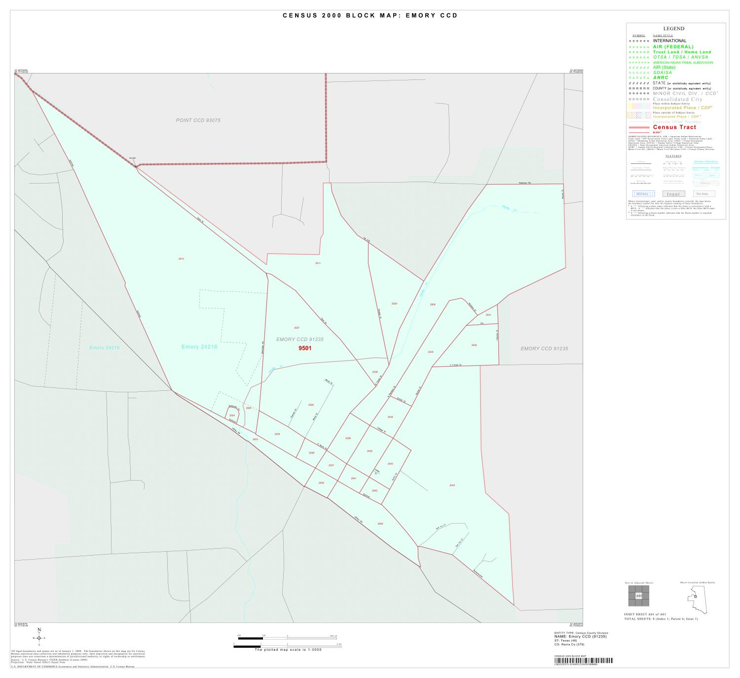 2000 Census County Subdivison Block Map: Emory CCD, Texas, Inset A01                                                                                                      [Sequence #]: 1 of 1
