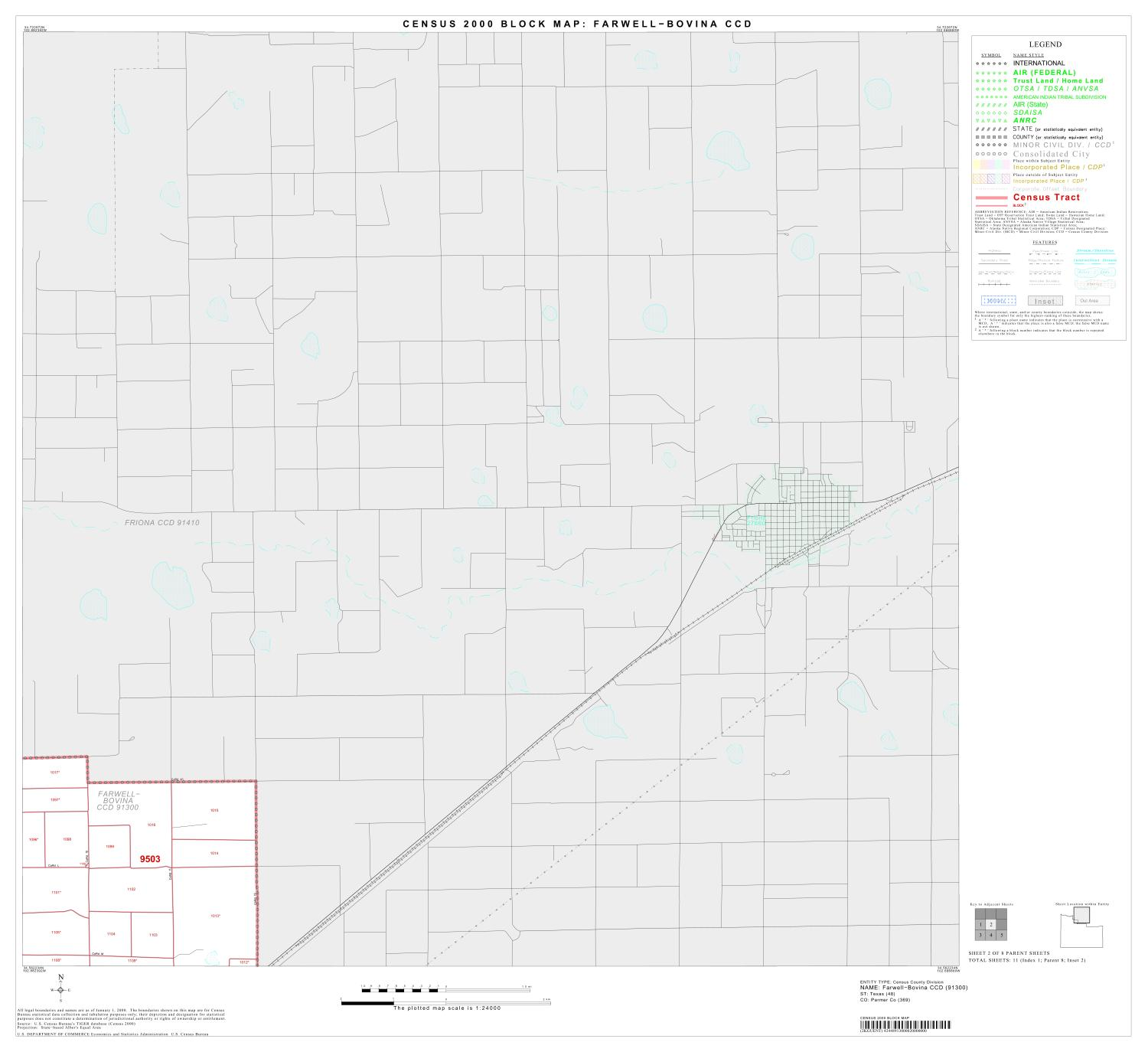 2000 Census County Subdivison Block Map: Farwell-Bovina CCD, Texas, Block 2                                                                                                      [Sequence #]: 1 of 1