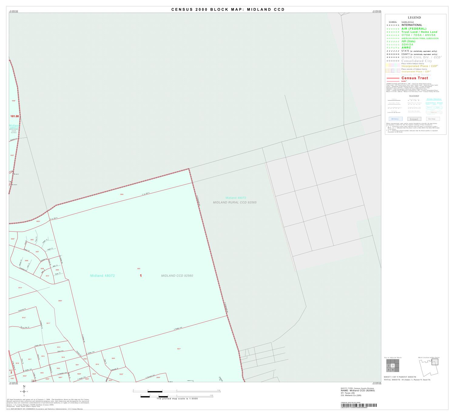 2000 Census County Subdivison Block Map: Midland CCD, Texas, Block 3                                                                                                      [Sequence #]: 1 of 1
