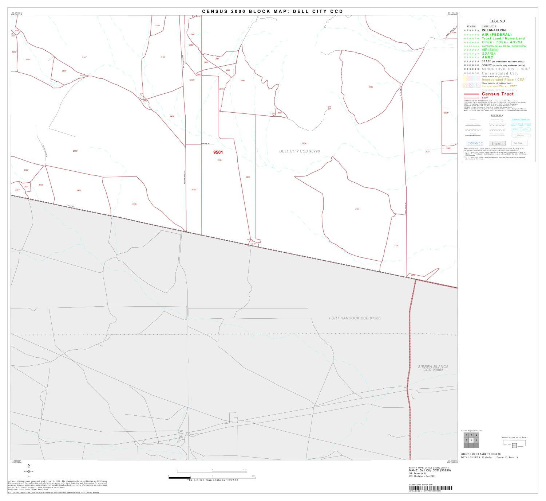 2000 Census County Subdivison Block Map Dell City Ccd Texas Block