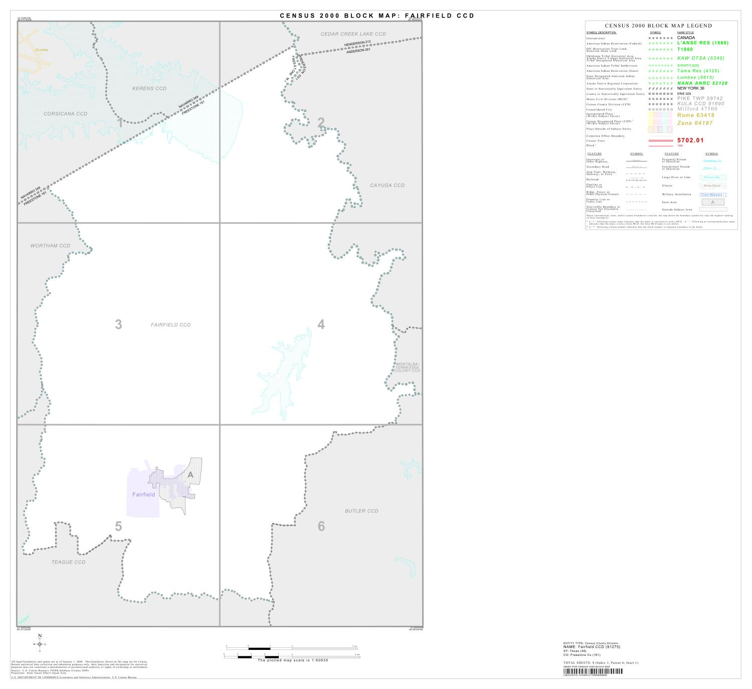 2000 Census County Subdivison Block Map: Fairfield CCD, Texas, Index                                                                                                      [Sequence #]: 1 of 1