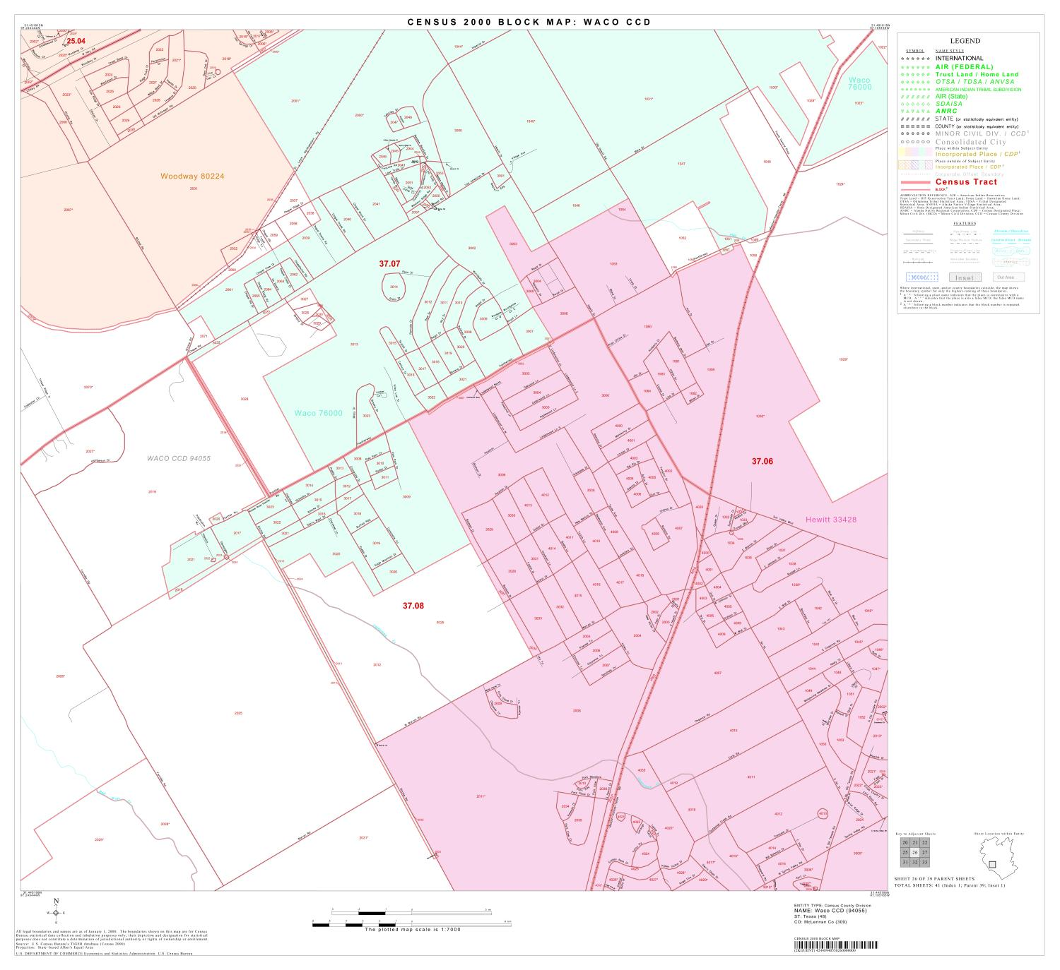 2000 Census County Subdivison Block Map: Waco CCD, Texas, Block 26                                                                                                      [Sequence #]: 1 of 1