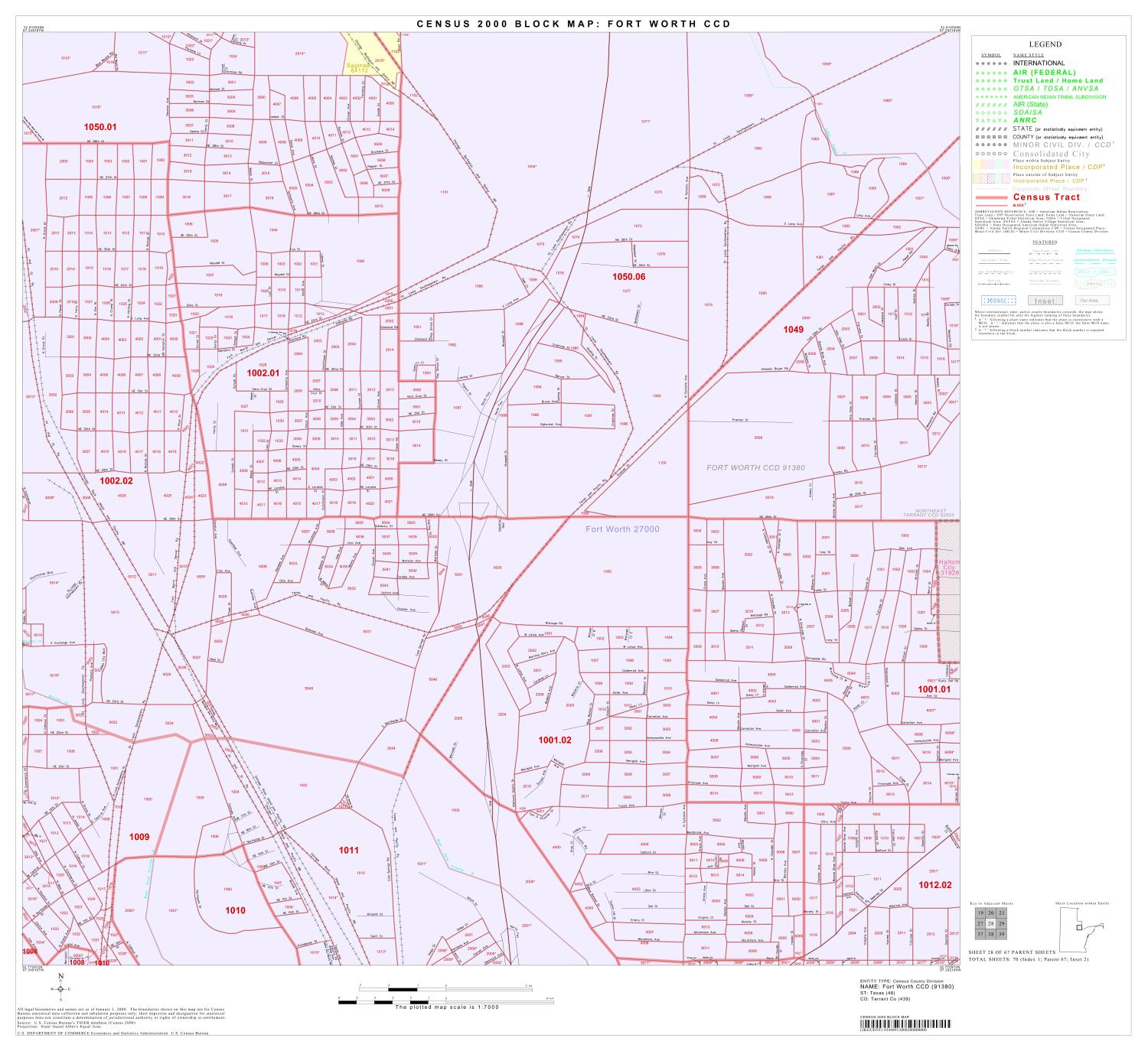 2000 Census County Subdivison Block Map: Fort Worth CCD, Texas, Block 28                                                                                                      [Sequence #]: 1 of 1