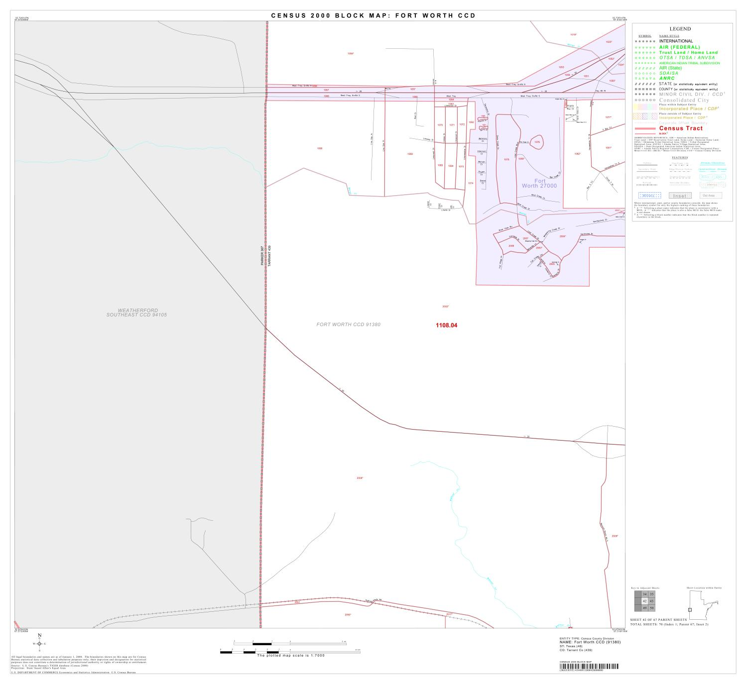 2000 Census County Subdivison Block Map: Fort Worth CCD, Texas, Block 42                                                                                                      [Sequence #]: 1 of 1