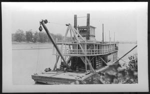 Primary view of object titled '[Boat near a river bank. Location unknown.]'.