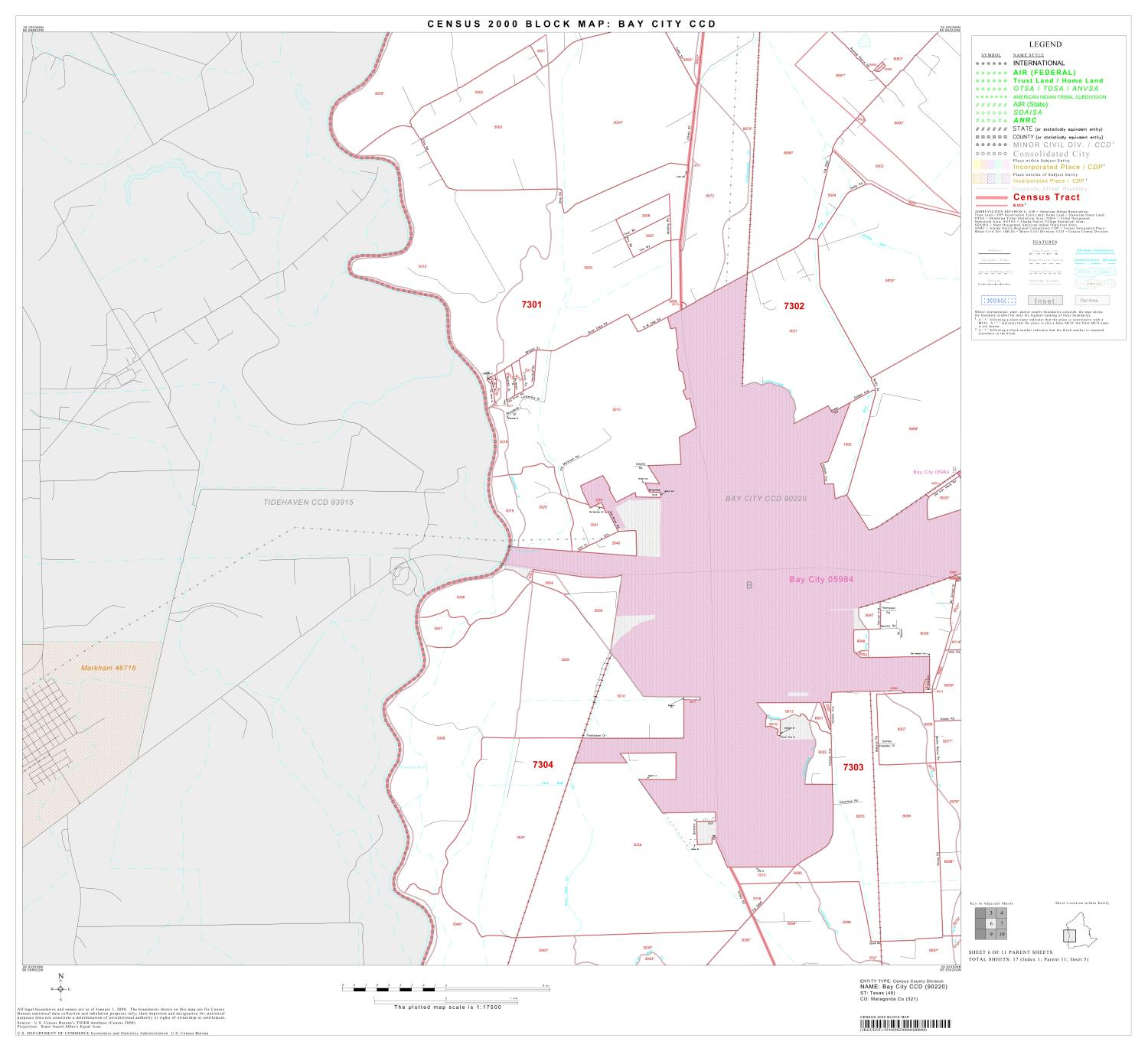2000 Census County Subdivison Block Map: Bay City CCD, Texas, Block 6                                                                                                      [Sequence #]: 1 of 1