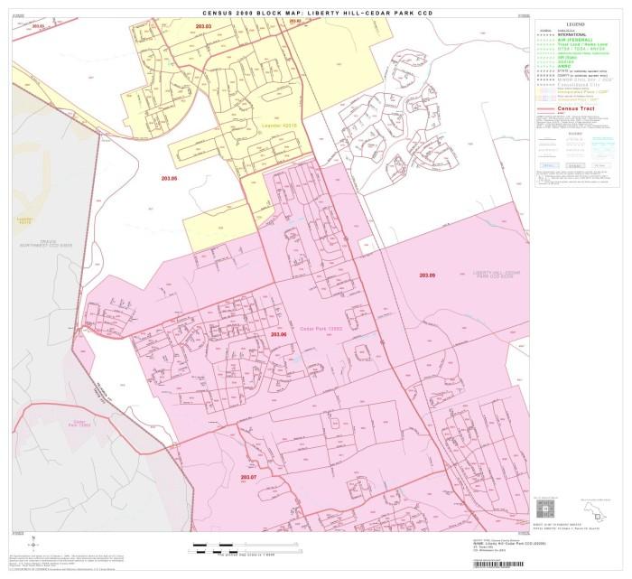 2000 Census County Subdivison Block Map: Liberty Hill-Cedar Park CCD on