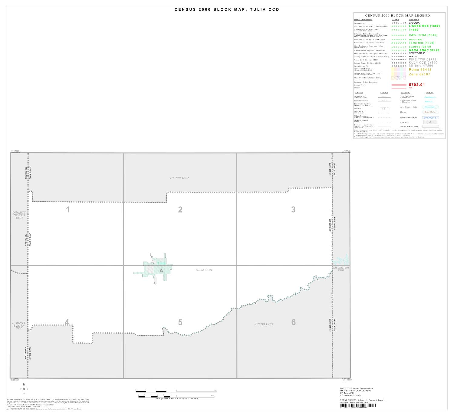 2000 Census County Subdivison Block Map: Tulia CCD, Texas, Index                                                                                                      [Sequence #]: 1 of 1