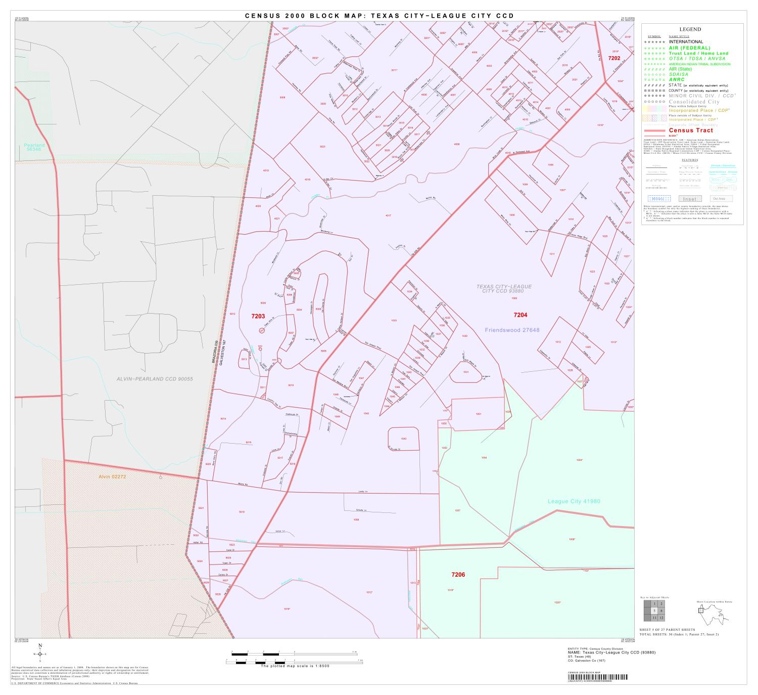 Map Of Texas City.2000 Census County Subdivison Block Map Texas City League City Ccd