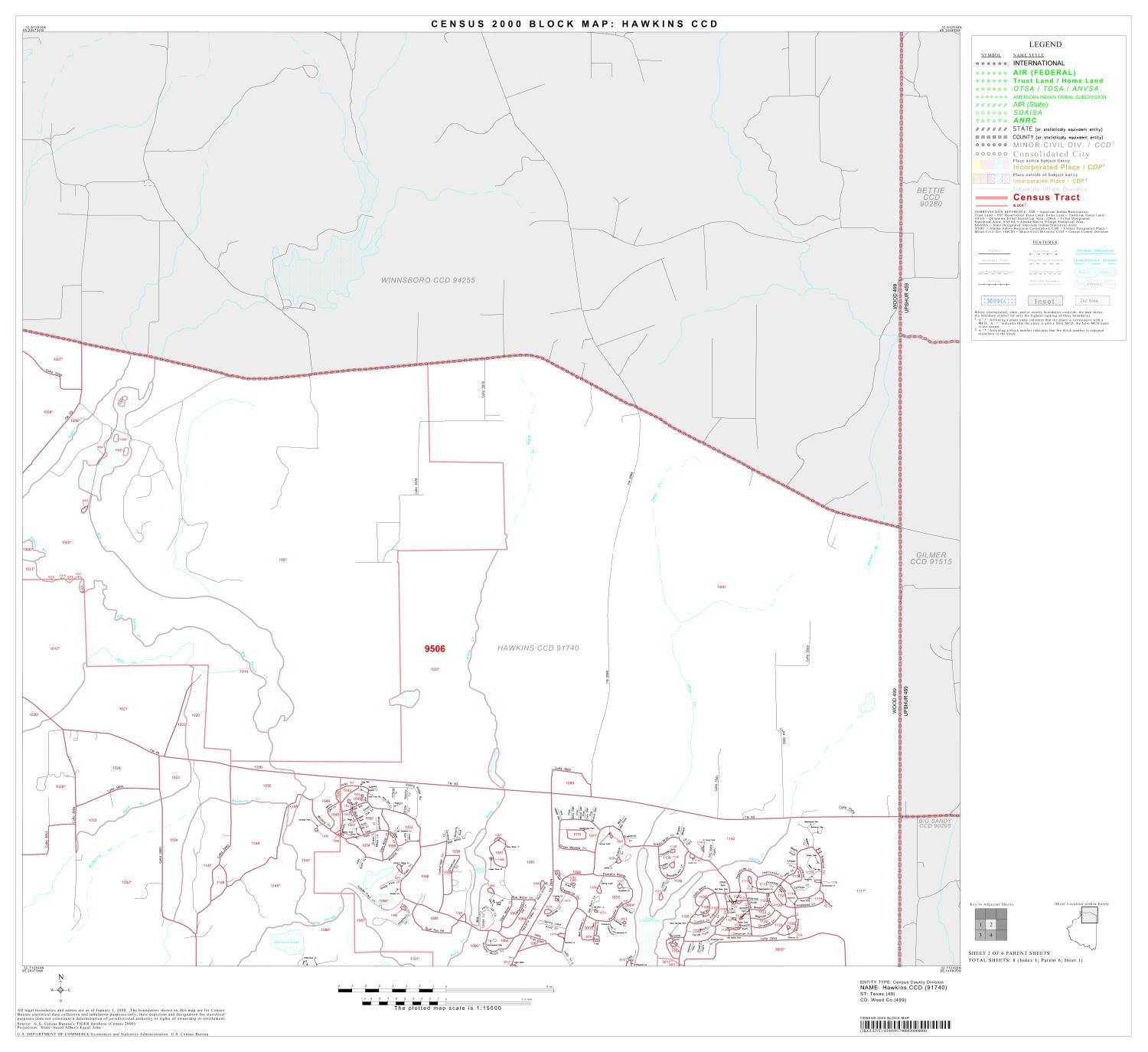 2000 Census County Subdivison Block Map: Hawkins CCD, Texas, Block 2                                                                                                      [Sequence #]: 1 of 1