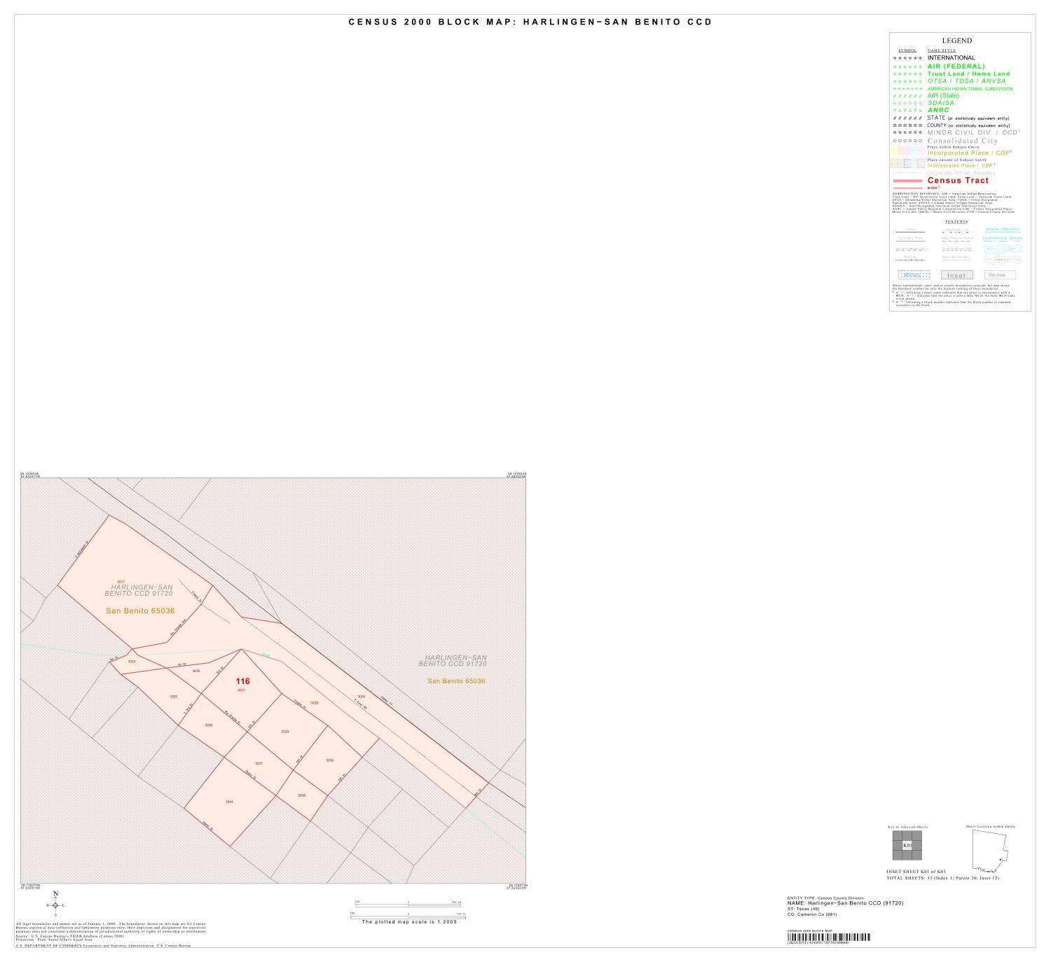 2000 Census County Subdivison Block Map: Harlingen-San Benito CCD, Texas, Inset K01                                                                                                      [Sequence #]: 1 of 1