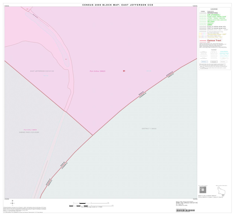 2000 Census County Subdivison Block Map East Jefferson Ccd Texas