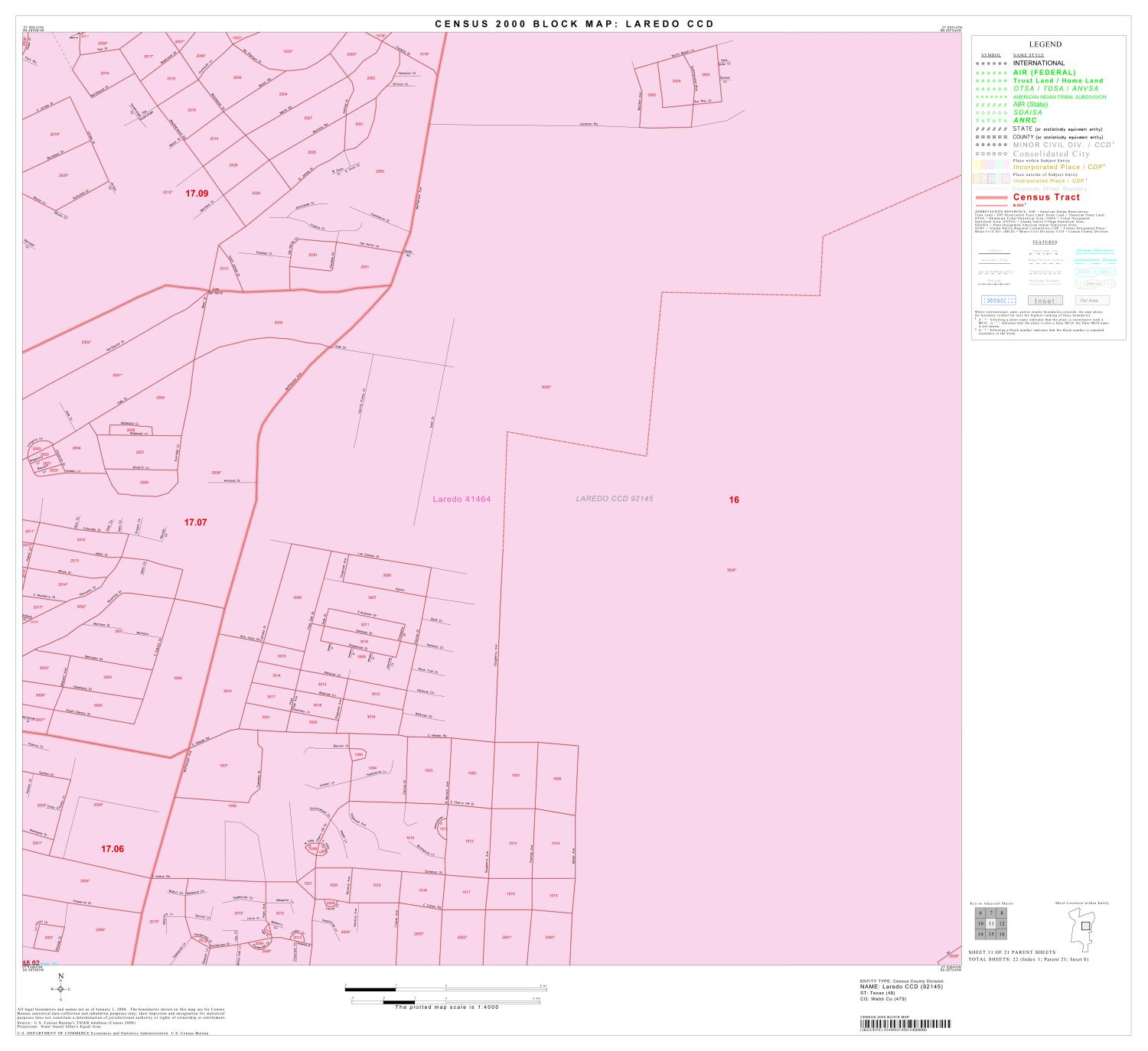 2000 Census County Subdivison Block Map: Laredo CCD, Texas, Block 11                                                                                                      [Sequence #]: 1 of 1