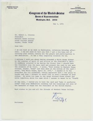 Primary view of object titled '[Letter from George Mahon to Robert L. Clinton - May 1, 1972]'.