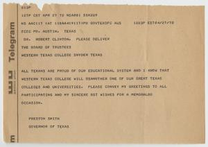 Primary view of object titled '[Telegram from Preston Smith - April 27, 1972]'.