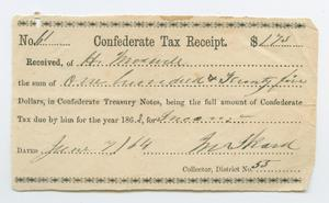 Primary view of [Confederate Tax Receipt from H. Maxwell]