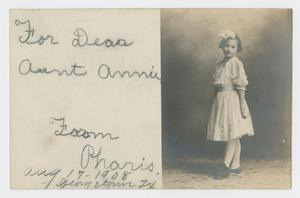 Primary view of object titled '[Postcard from Pharis Whittenberg to Annie Sharpe, August 17, 1908]'.