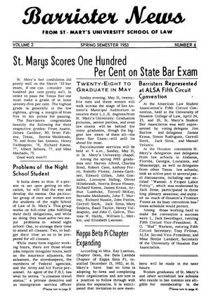 Primary view of object titled 'Barrister News, Volume 2, Number 4, Spring Semester, 1953'.