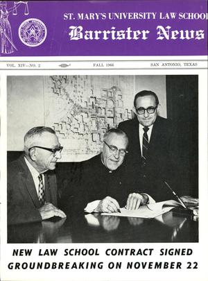 Primary view of object titled 'Barrister News, Volume 14, Number 2, Fall, 1966'.