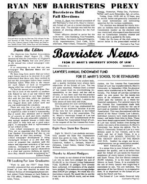 Primary view of object titled 'Barrister News, Volume 4, Number 4, Fall Semester, 1956'.