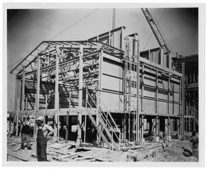 Primary view of object titled '[Magnolia Petroleum Company building construction]'.