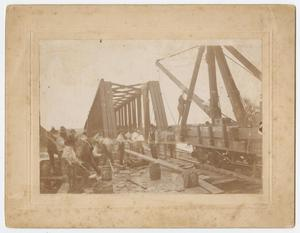 Primary view of object titled '[Bridge Being Built over the Brazos River]'.