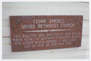 Primary view of object titled '[Cedar Springs United Methodist Church Plaque]'.