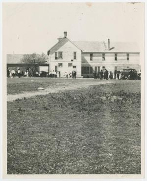 Primary view of object titled '[People Standing Outside of Palo Pinto School]'.