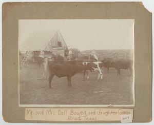 Primary view of object titled '[The Bowen Family Riding Among Cattle]'.