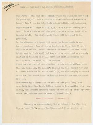Primary view of object titled '[Article Regarding Homecoming and Reunion at the Palo Pinto School]'.
