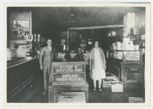 Primary view of object titled '[Joe and Rindy Bradford in Their General Store]'.