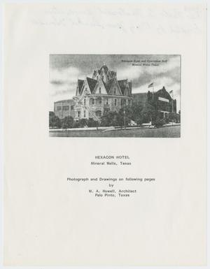 Primary view of object titled '[Hexagon Hotel Booklet]'.