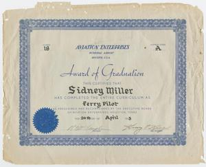 Primary view of object titled '[Diploma for Sidney Miller]'.