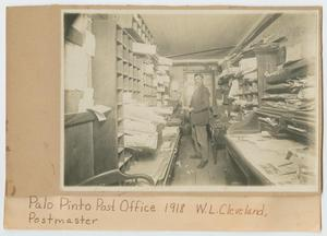Primary view of object titled '[Postmaster William Cleveland in the Palo Pinto Post Office]'.