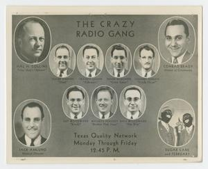 Primary view of object titled '[Flyer for the Crazy Radio Gang]'.