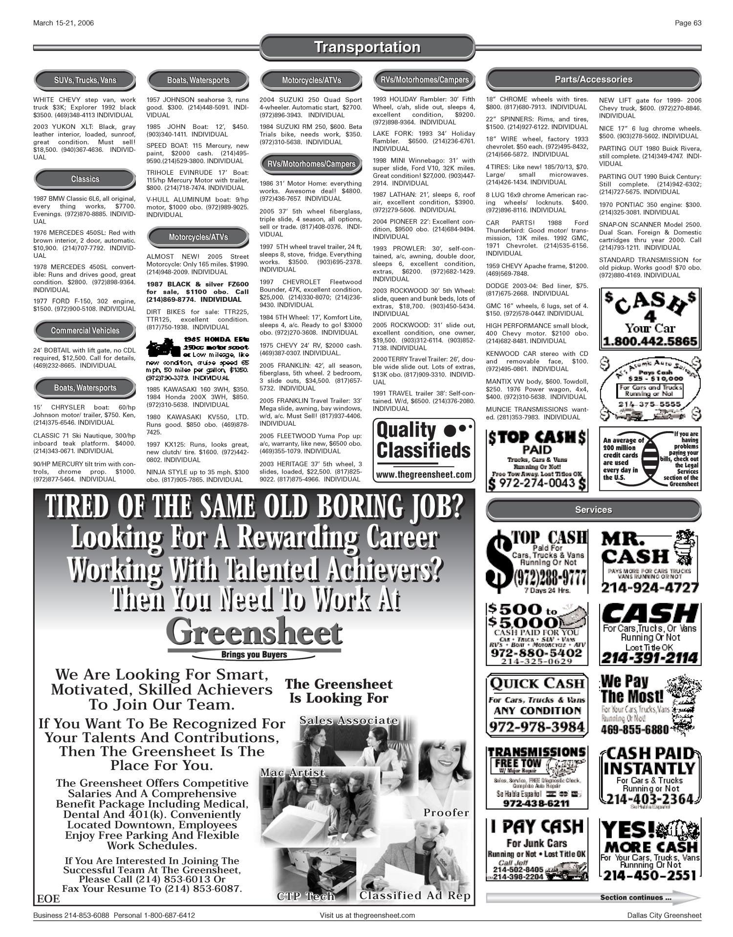 The Greensheet (Dallas, Tex ), Vol  29, No  337, Ed  1 Wednesday