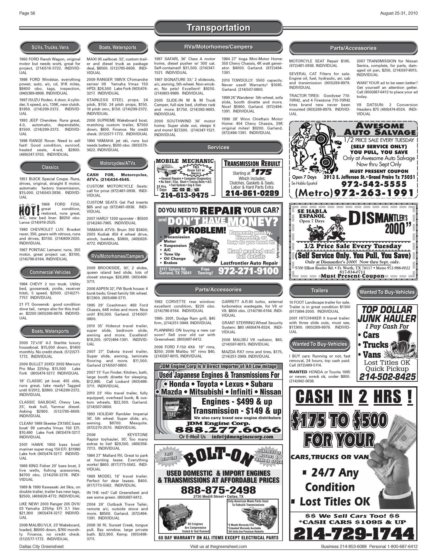 The Greensheet (Dallas, Tex ), Vol  34, No  141, Ed  1 Wednesday