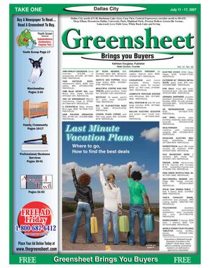 Primary view of object titled 'The Greensheet (Dallas, Tex.), Vol. 31, No. 92, Ed. 1 Wednesday, July 11, 2007'.