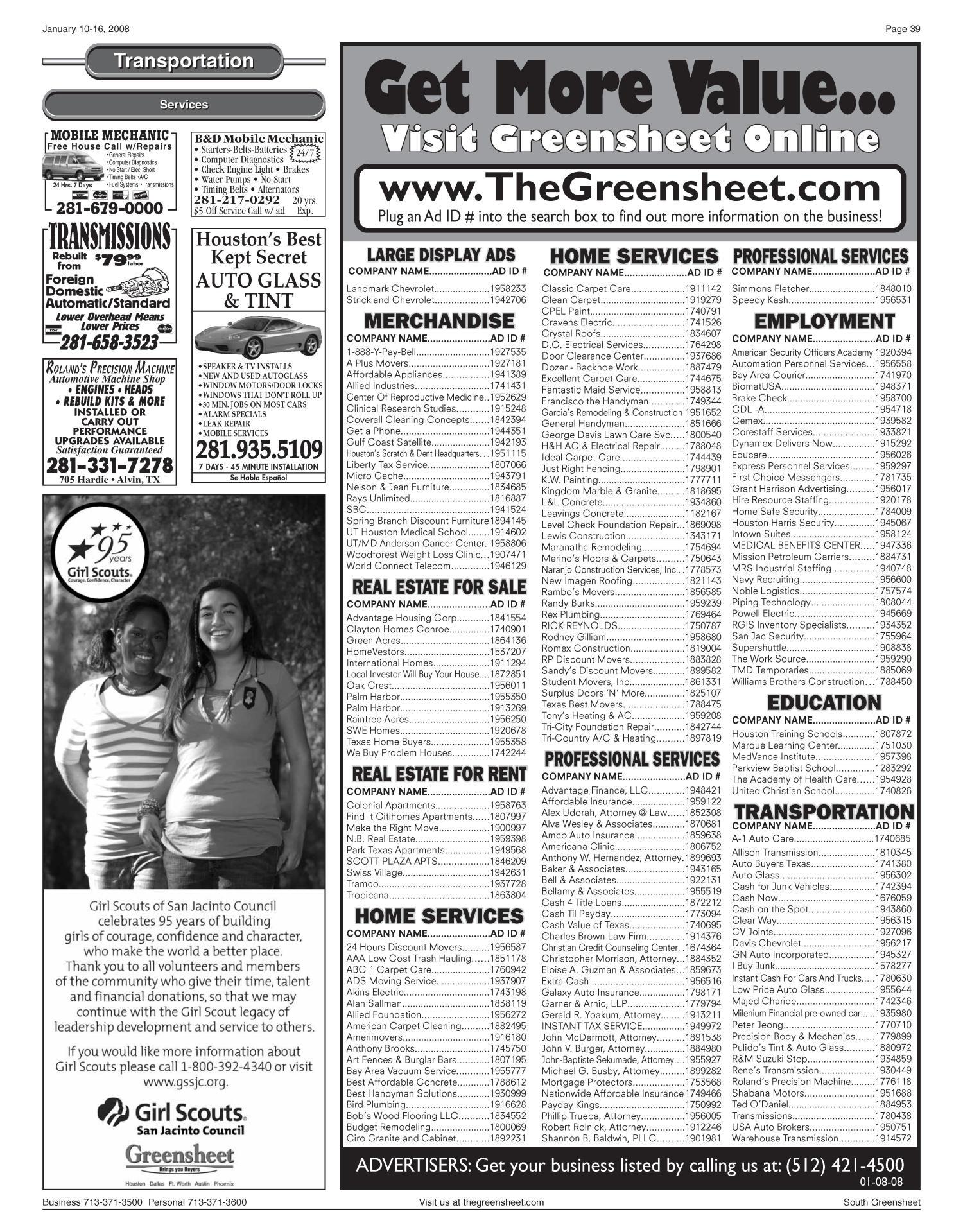 Greensheet (Houston, Tex ), Vol  38, No  583, Ed  1 Thursday