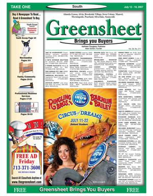 Primary view of object titled 'Greensheet (Houston, Tex.), Vol. 38, No. 271, Ed. 1 Thursday, July 12, 2007'.