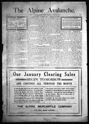 The Alpine Avalanche. (Alpine, Tex.), Vol. 21, No. 3, Ed. 1 Thursday, January 12, 1911